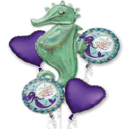 Little Mermaid Wishes Seahorse Foil Balloon Bouquet