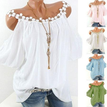 Women Summer Lace Off Shoulder Shirt Short Sleeve Fancy Tops](Fancy Tops For Teenagers)