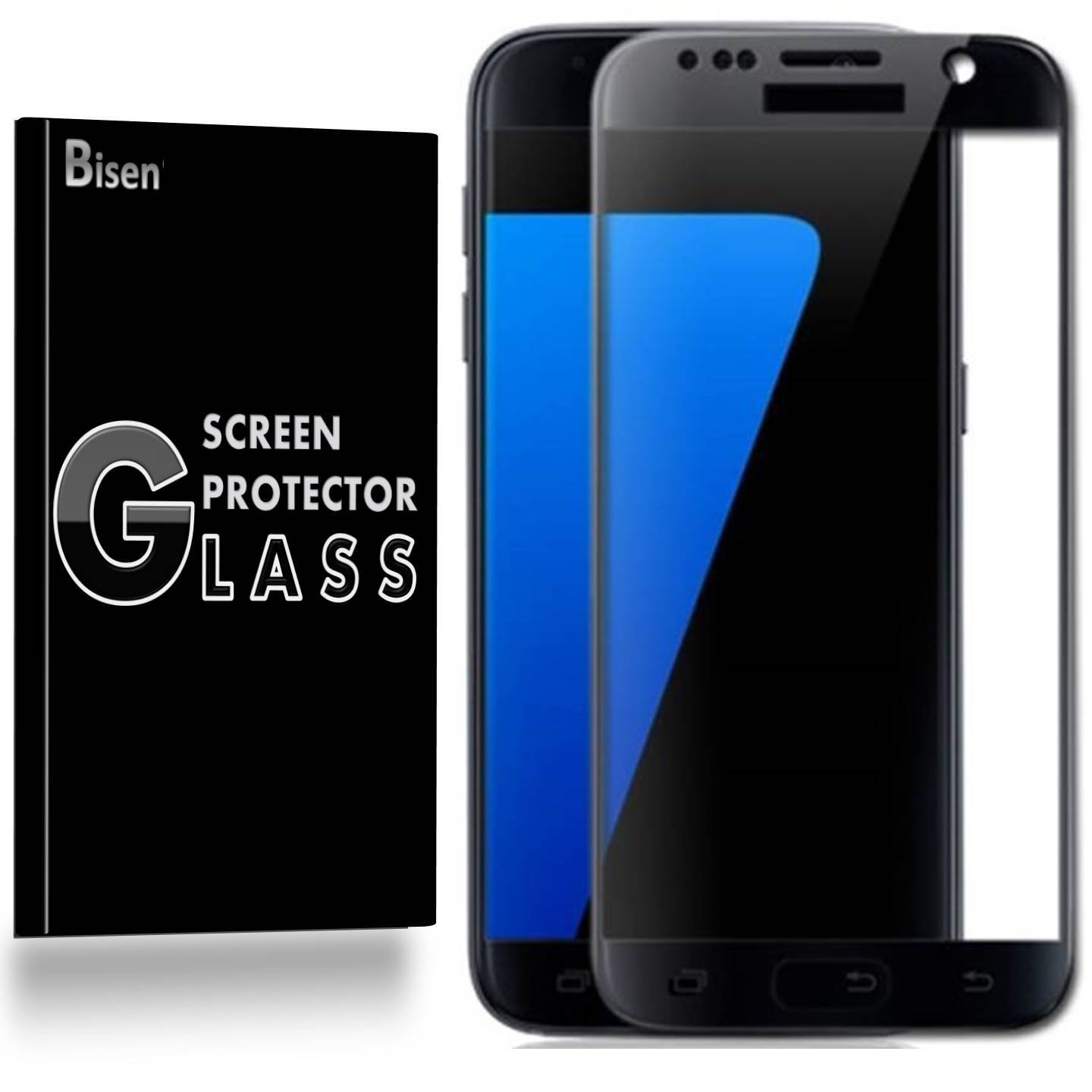 Samsung Galaxy S7 (2016 Release) [BISEN] 9H [Full Cover] Tempered Glass Screen Protector, Edge-To-Edge, Anti-Shock, Shatterproof, Bubble Free [Black]