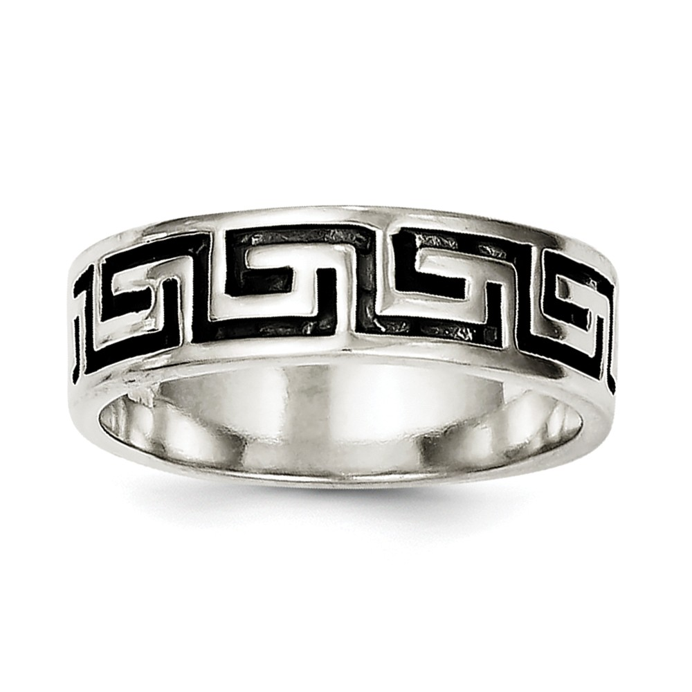 925 Sterling Silver Antiqued Greek Key Design Ring Size-10 by