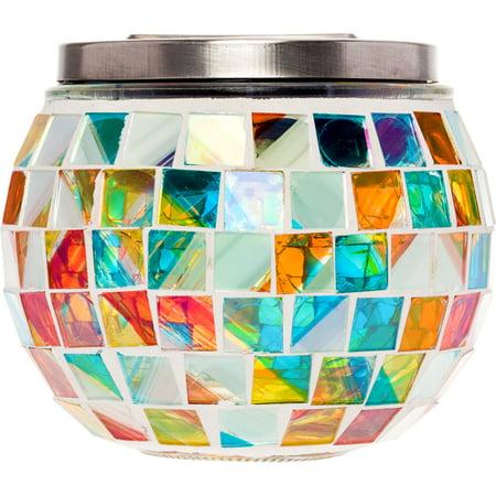 GreenLighting Color Changing Mosaic Decorative Outdoor Solar LED Mason Jar Light ()