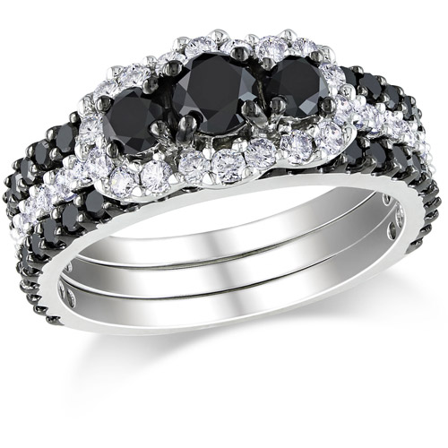 2 Carat T.W. Black and White Diamond 10kt White Gold Three-Stone Bridal Set