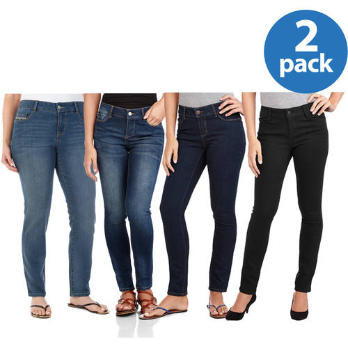 Faded Glory Women's Comfort Skinny Jeans, 2 pack