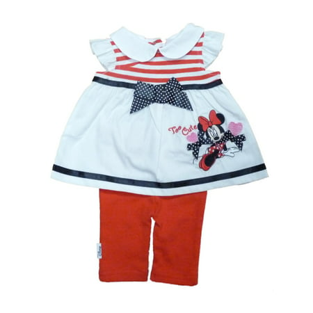 Disney Infant Girls Red White Minnie Mouse Patriotic 2 Piece Legging Outfit (Disney Outfit Ideas)
