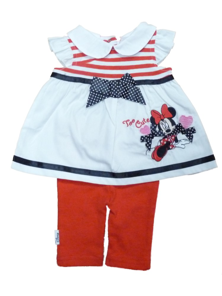 Disney Infant Girls Red White Minnie Mouse Patriotic 2 Piece Legging Outfit