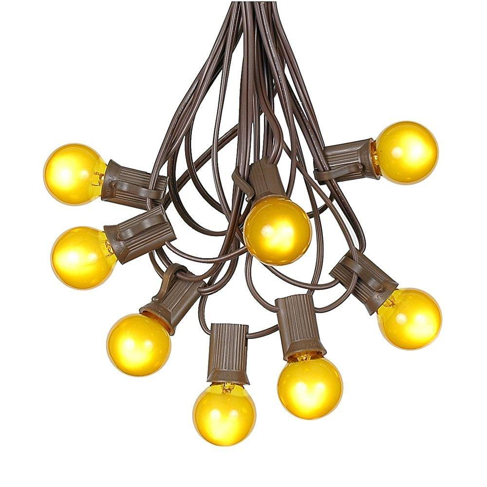 G30 Patio String Lights with 25 Clear Globe Bulbs – Outdoor String Lights – Market Bistro Café Hanging String Lights – Patio Garden Umbrella Globe Lights - Brown Wire - 25 Feet