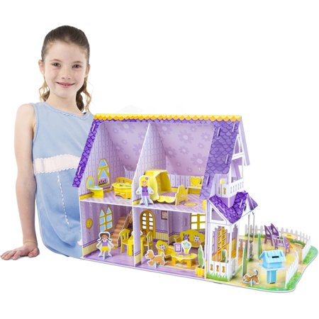 Melissa & Doug Pretty Purple Dollhouse 3-D Puzzle (16 x 10.75 x 10.75 inches, 100+ pcs) - image 3 de 5