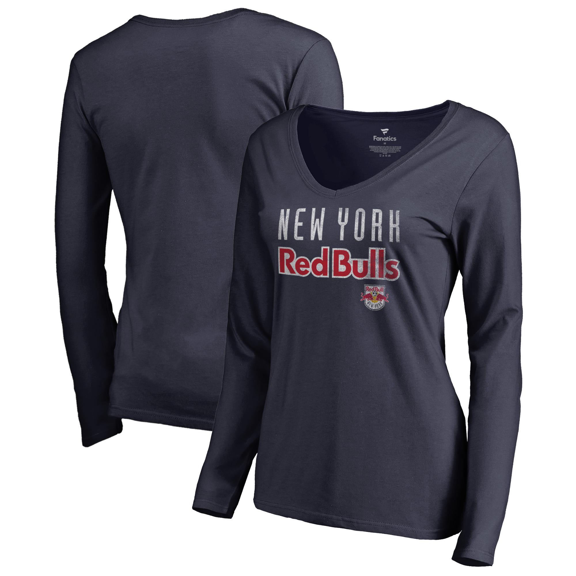 New York Red Bulls Fanatics Branded Women's Graceful V-Neck Long Sleeve T-Shirt - Navy