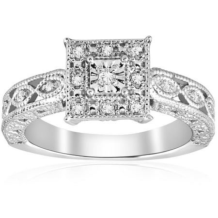 1/10ct Vintage Diamond Ring Silver Engagement Anniversary Antique Deco Jewelry - image 4 of 4