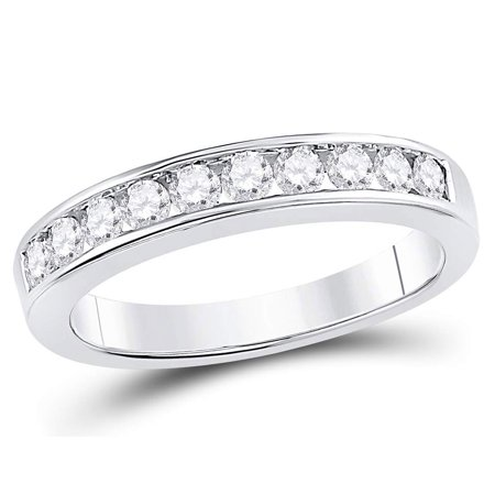 Diamond Wedding Band and Anniversary Ring 1/2 Carat (ctw H-I  I1-I2) in 14K White Gold - image 4 de 4