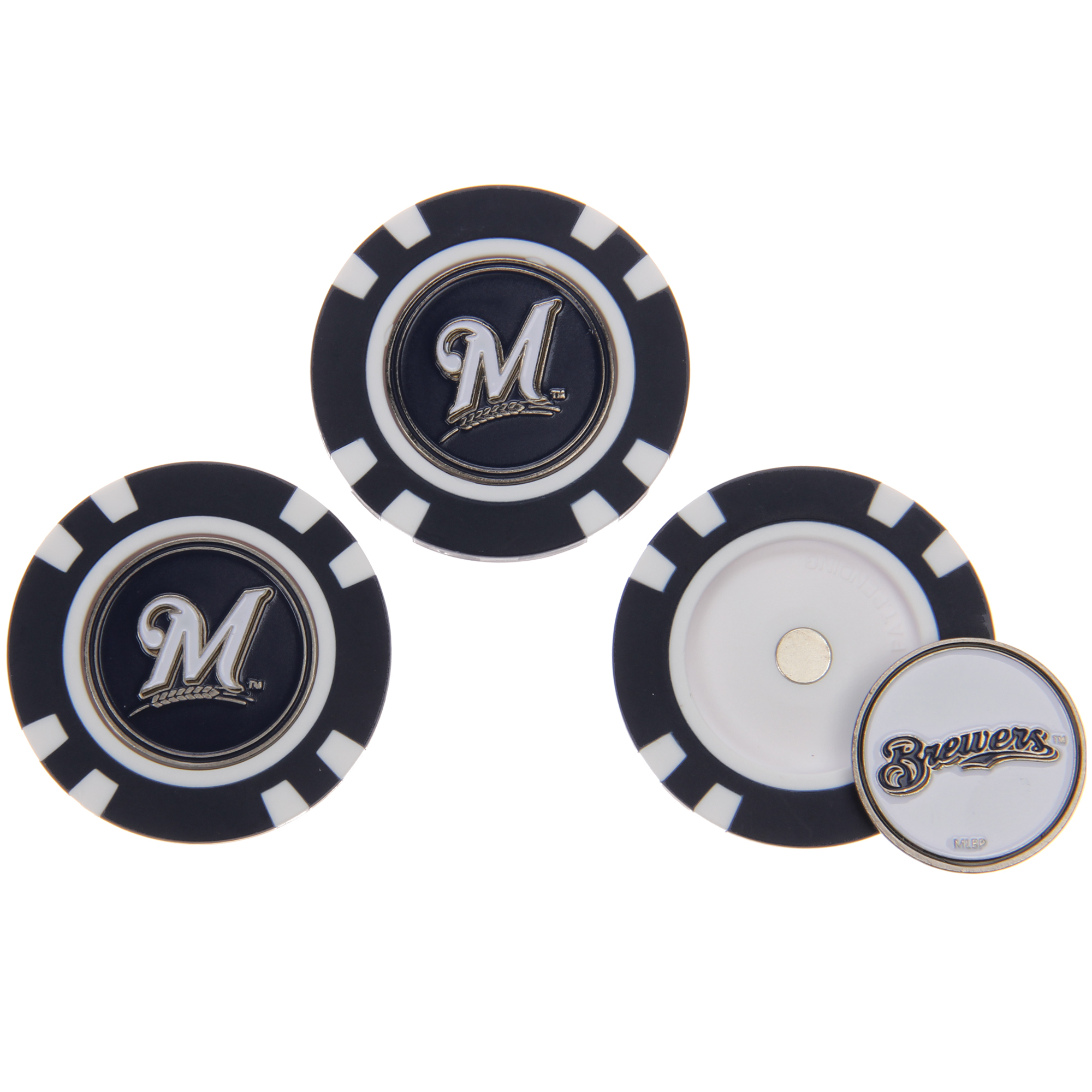 Milwaukee Brewers 3-Pack Poker Chip Golf Ball Markers - No Size