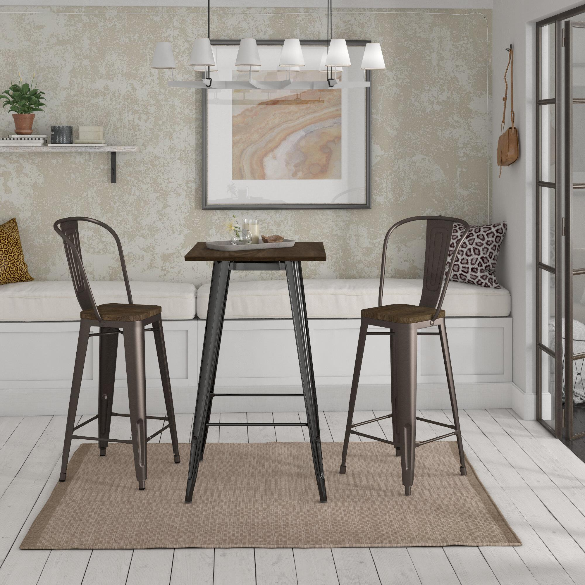 Dhp Fusion Square Bar Table With Luxor 30 Quot Metal Stool 3