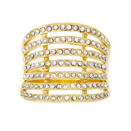 Lesa Michele Crystal Concave Design Multi Layered Open Work Ring in Gold IP Plated Stainless Steel Ring Gold Plated Wire Design