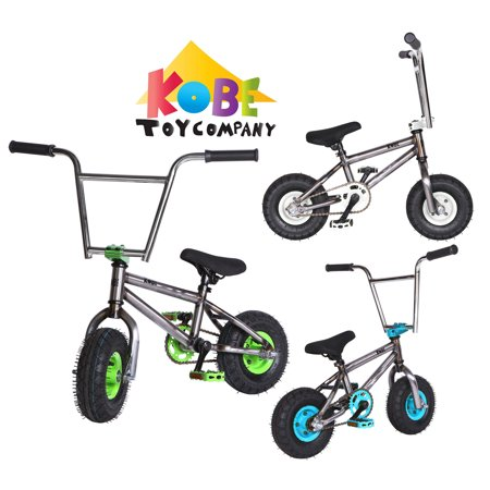 "Kobe ""Rusty Rat Rod"" Mini BMX - Off-Road to Skate Park, Freestyle, Trick, Stunt Bicycle 10"" Wheels for Adults and Kids - Green - image 12 de 12"