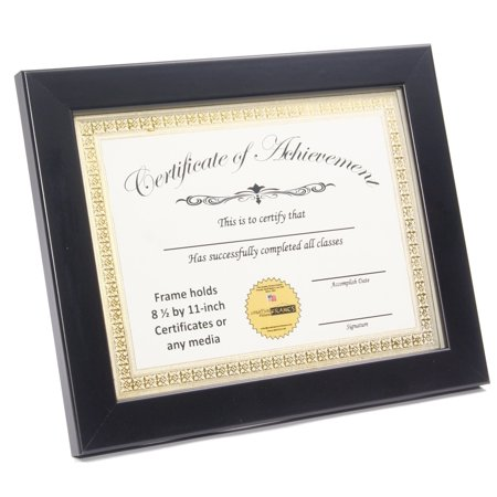 CreativePF [ZJBZ-8.5x11bk] Black Document Frame Displays 8.5 by 11-inch Certificate, Graduation, University, Diploma Frames with Stand & Wall (Collegiate Diploma Saddle)