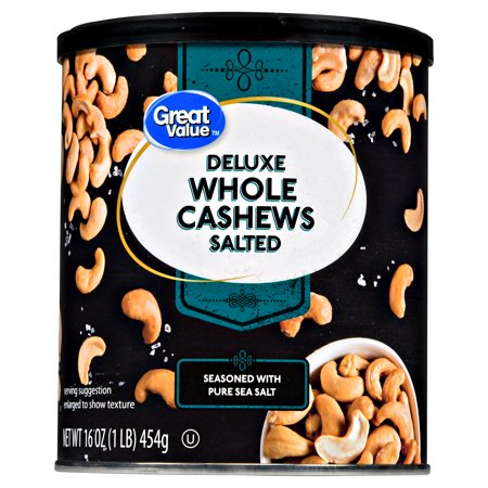 Great Value Deluxe Whole Cashews, Salted, 16 oz