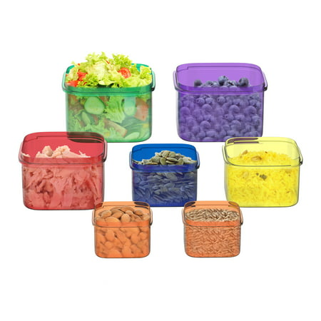 Portion Control Containers - Portion Control Containers- 7 Piece Color Coded Food Storage Set for Meal Prep, Dieting– BPA and DEHP Free, Microwave/Freezer Safe by Classic Cuisine