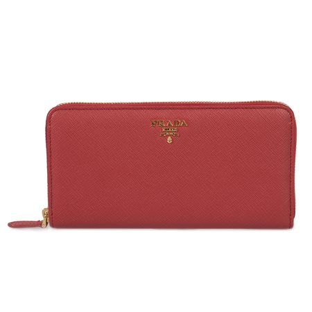 premium selection 7a0d7 e66a4 Prada Red Saffiano Leather Zip-Up Wallet 1ML506 QWA F068Z