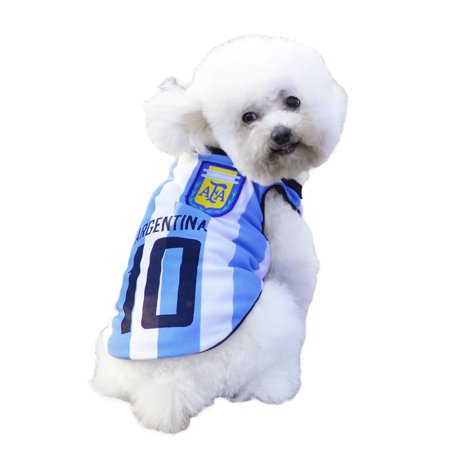 Dog Clothes Football T-shirt Dogs Costume National Soccer 2018 World Cup FIFA Jersey for Pet Argentina - Costume For Dogs
