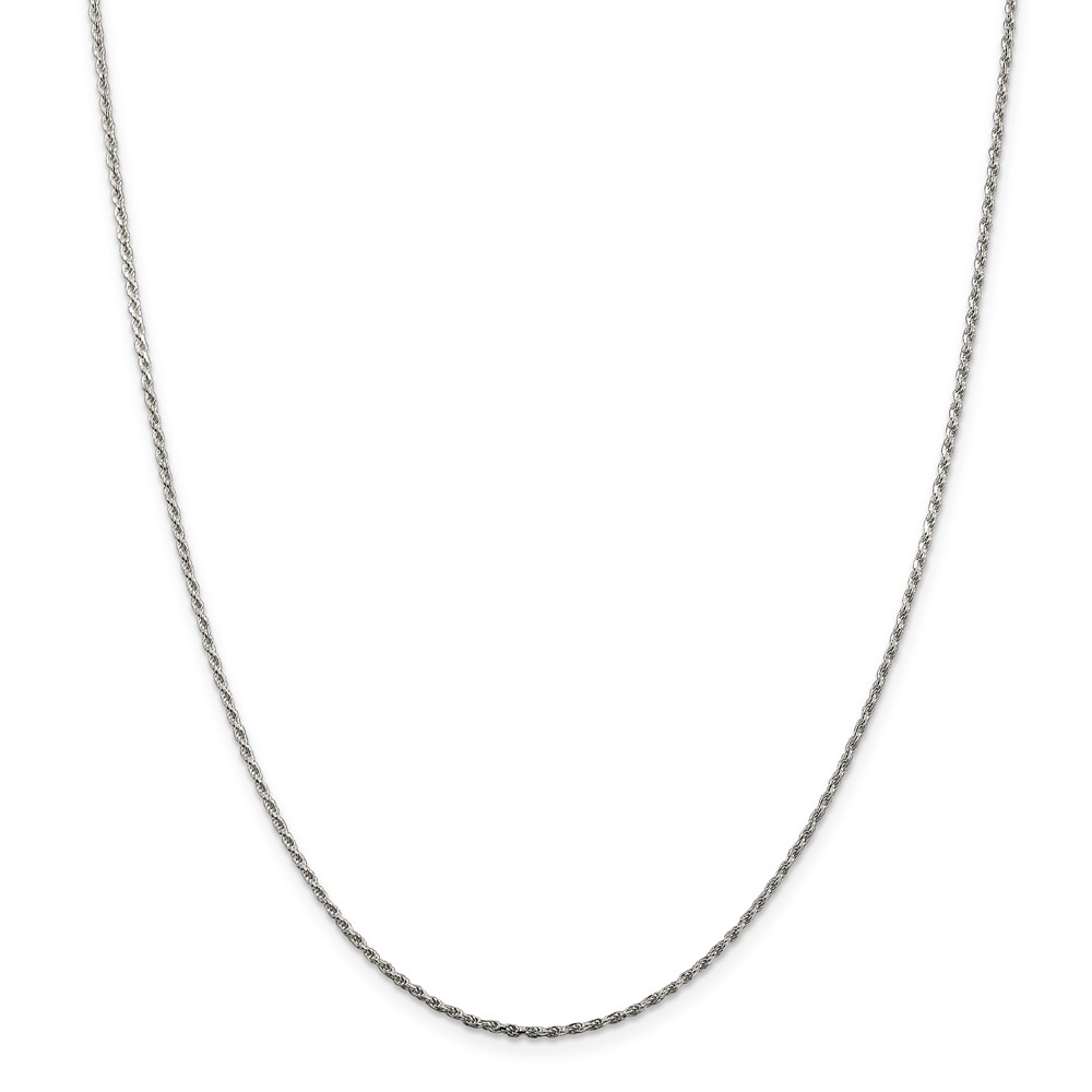 Sterling Silver 24in Rhodium Plated 1.5mm D/C Rope Necklace Chain