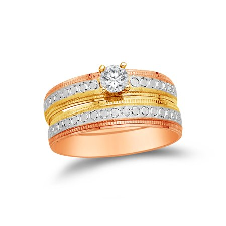 14k Rose Two Toned Gold CZ Cubic Zirconia Round Bridal Engagement and Wedding Two Ring Set (1/4ct. Center Stone) , Size 7