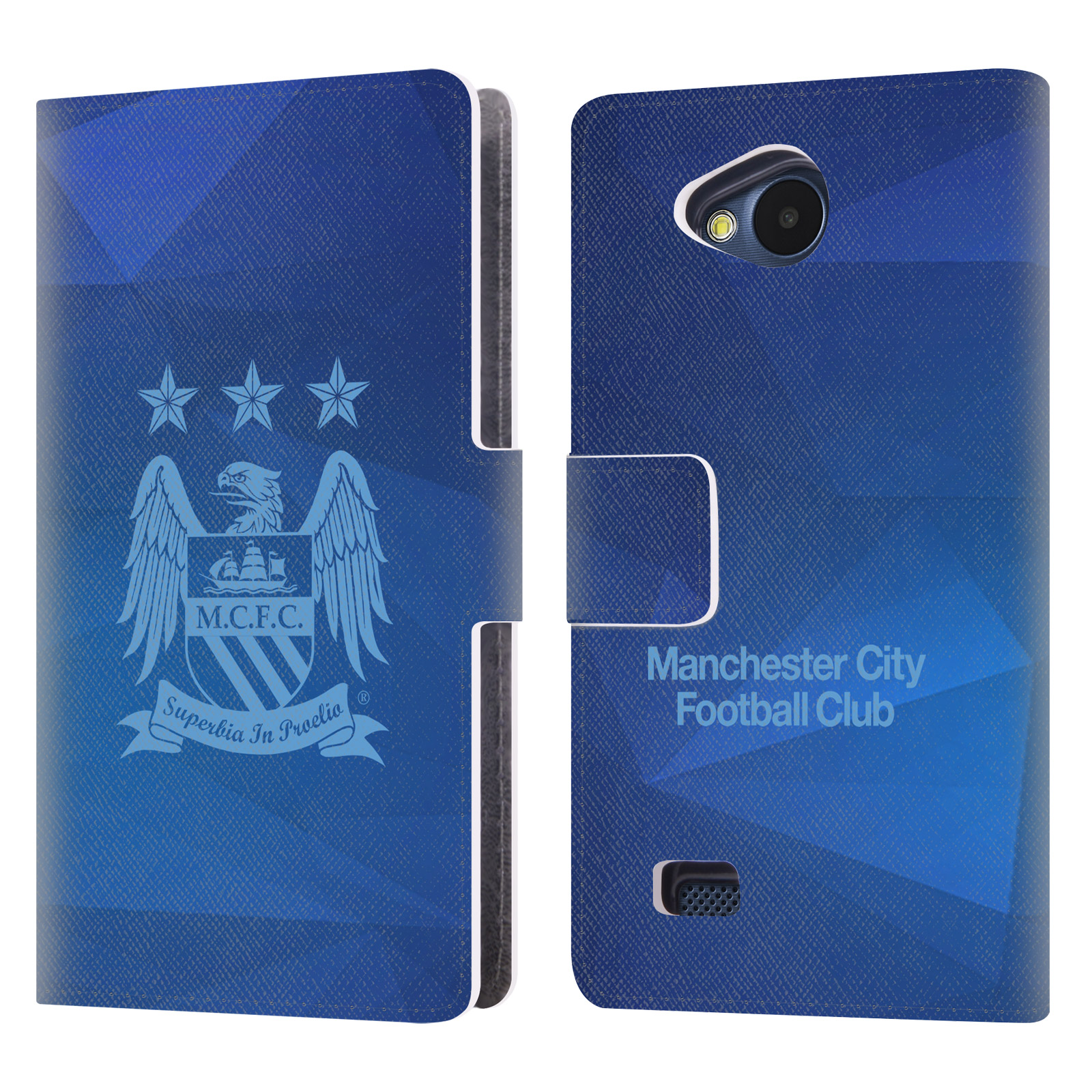 OFFICIAL MANCHESTER CITY MAN CITY FC CREST GEOMETRIC LEATHER BOOK WALLET CASE COVER FOR LG PHONES 2
