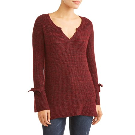 Women's V-Neck Tie Sleeve Sweater
