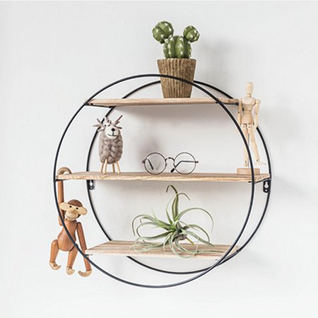 Solid Wood Wall Shelves Shelf Retro Style Storage Rack Round Metal Rack Storage For Home Bedroom Decoration