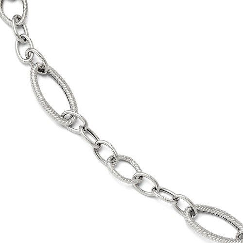 14k White Gold 7.5in Polished and Textured Link Bracelet