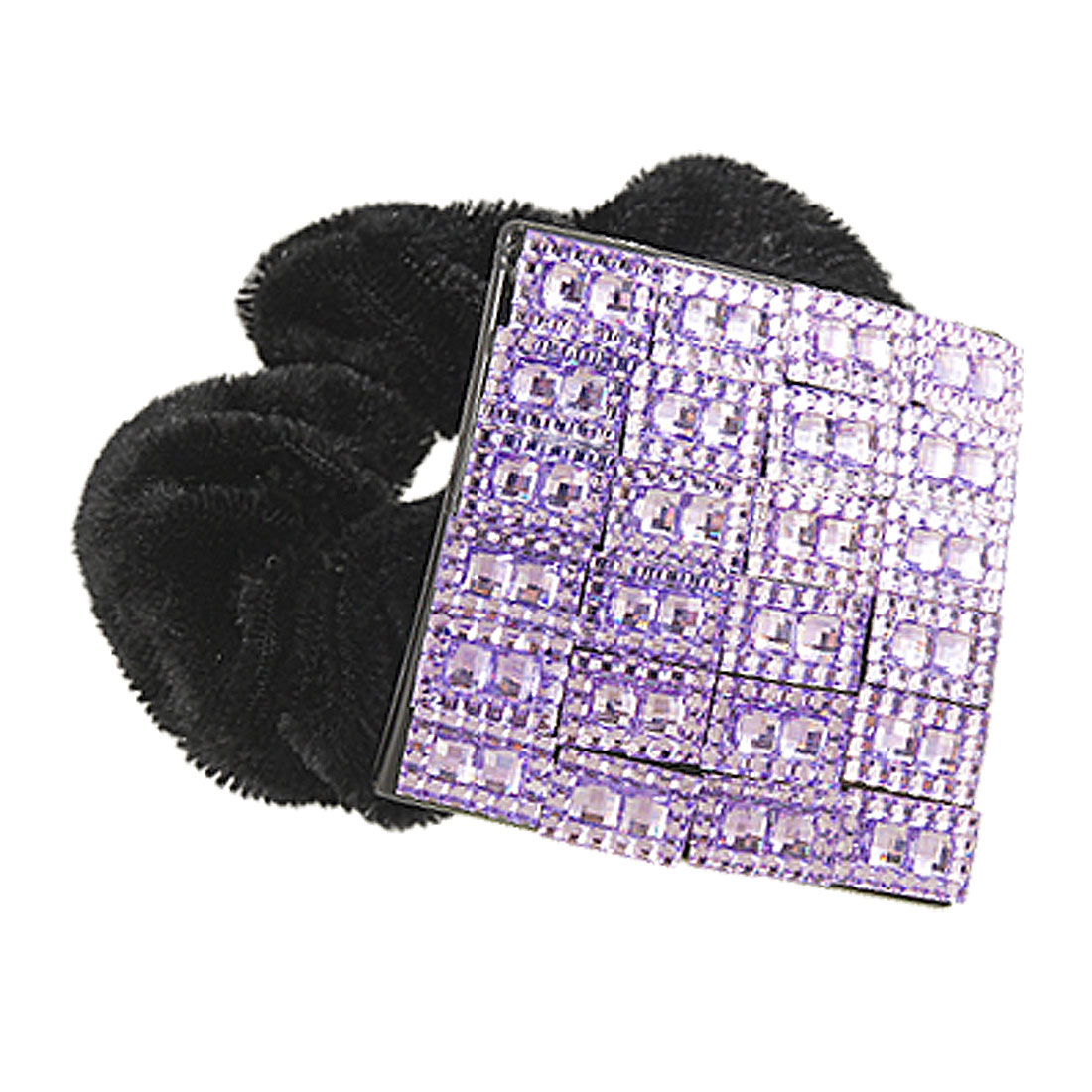 Girls Purple Black Glitter Rhinestone Square Elastic Hair Circle