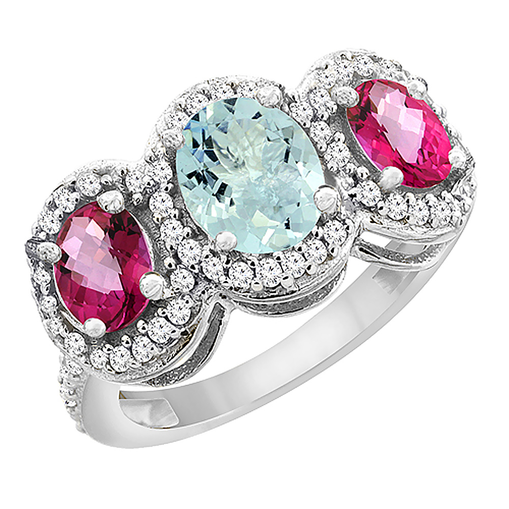 10K White Gold Natural Aquamarine & Pink Topaz 3-Stone Ring Oval Diamond Accent, size 5 by Gabriella Gold