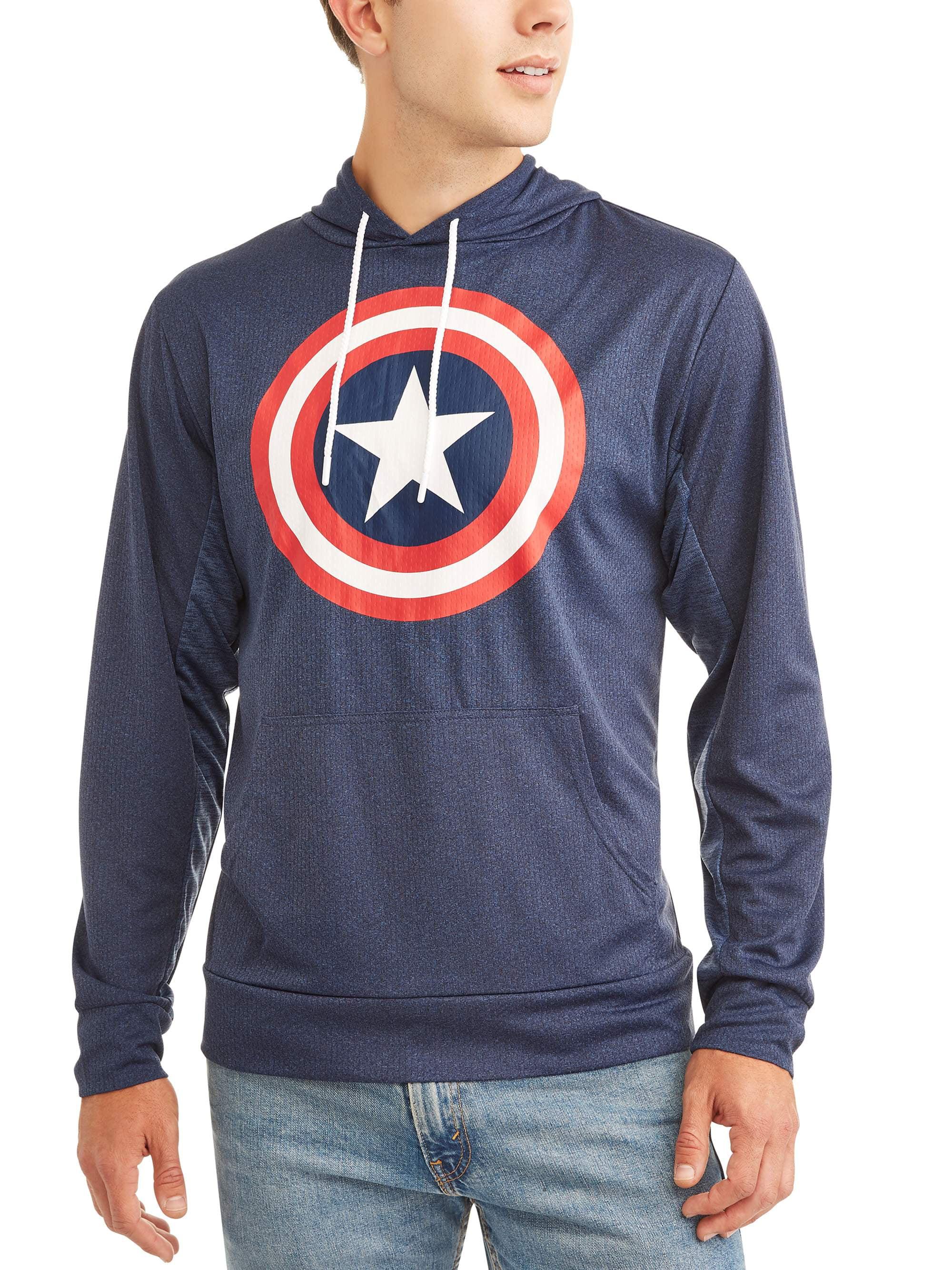 Captain America Men's Long Sleeve Pullover Hood T-Shirt