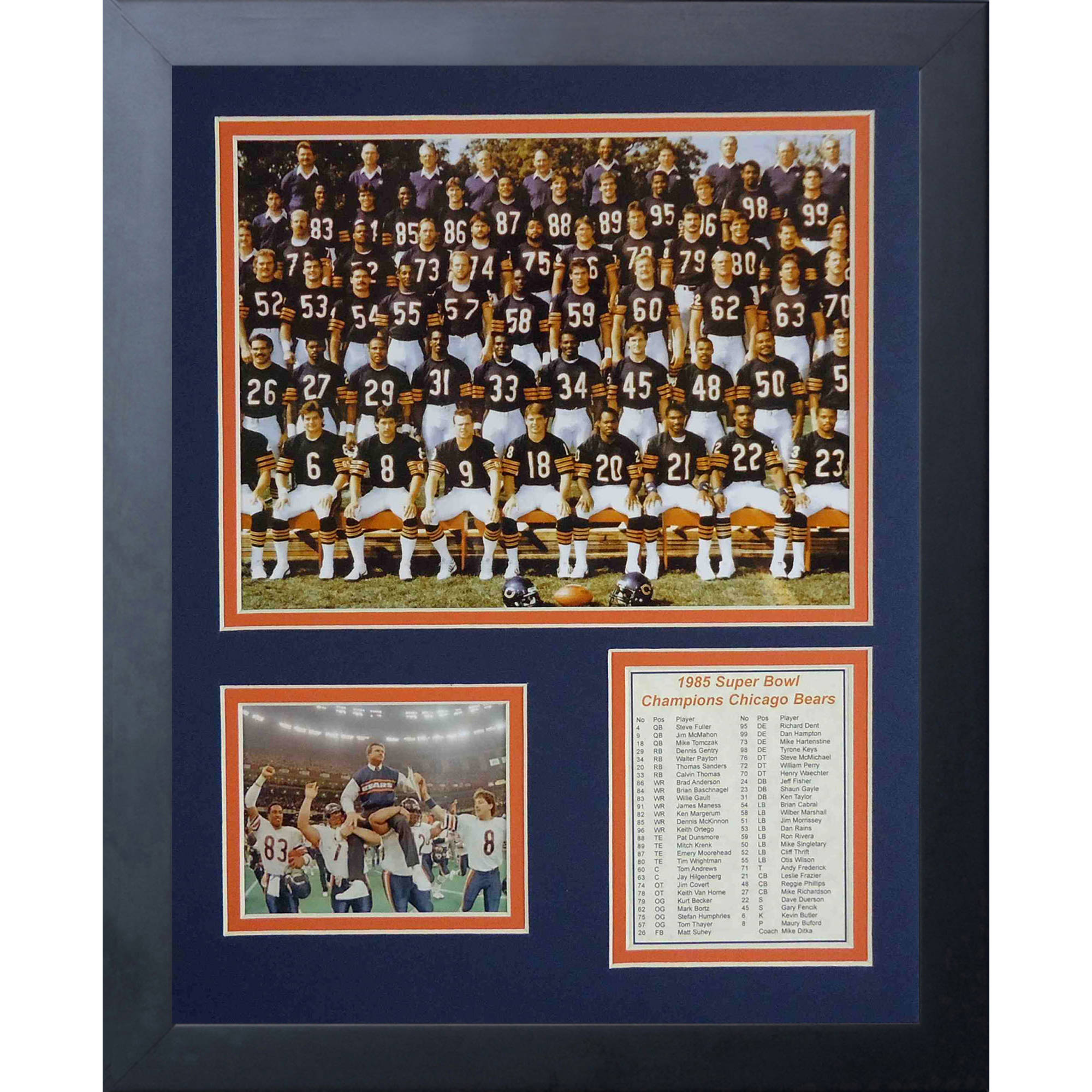 1985 Chicago Bears Framed Photo Collage, 11x14, by Legends Never Die
