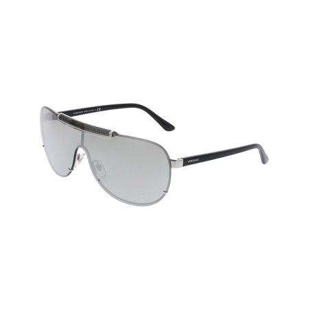 Versace Men's Mirrored VE2140-10006G-40 Silver Shield (Versace Male Sunglasses)