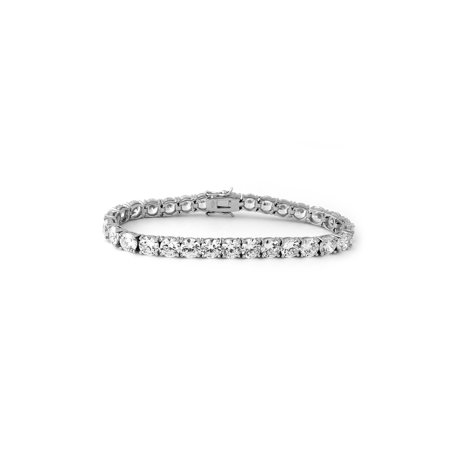 Solid Sterling Silver Rhodium Plated Cubic Zirconia Eternity Tennis Bracelet, (Chain Eternity Bracelet)