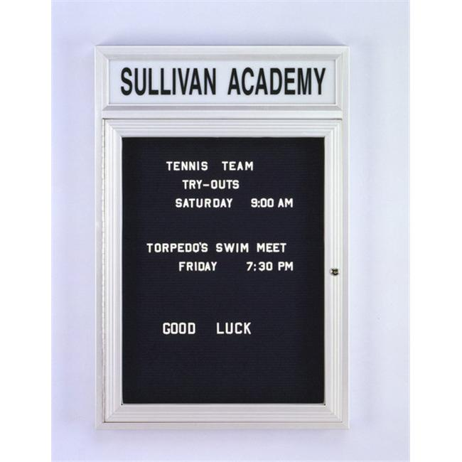 Ghent PABL2-BK 36 in. x 24 in. 1-Door Satin Alum Frame with Illuminated Headliner Enclosed Black Changeable Letterboard - image 1 de 1