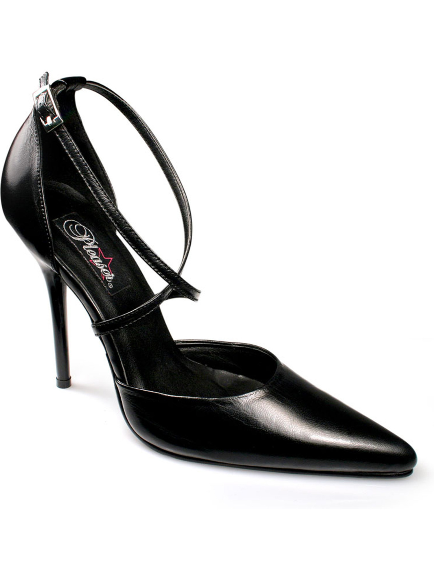 Womens Pointed Toe Pumps 4 1/2 Inch Heel Crisscross Strap D'Orsay Black Leather