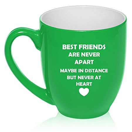 16 oz Large Bistro Mug Ceramic Coffee Tea Glass Cup Best Friends Long Distance Love