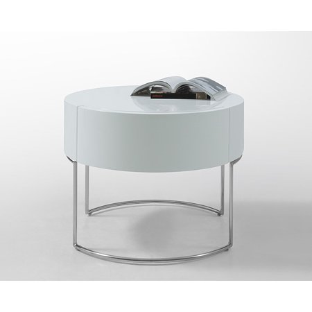 HomeRoots Office Modern White Lacquer Round Nightstand ()