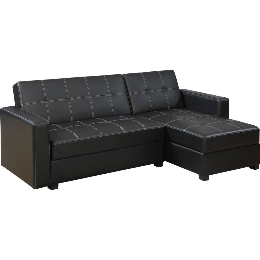 Bobkona Medora Faux Leather Left or Right Hand Chaise Adjustable Sectional with Compartment, Black by Poundex