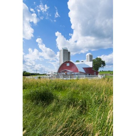 Eau Claire, Wisconsin, Farm and Red Barn in Picturesque Farming Scene Print Wall Art By Bill Bachmann