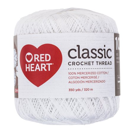 Red Heart Classic Cotton Size 10 Crochet White Thread, 1 Each ()