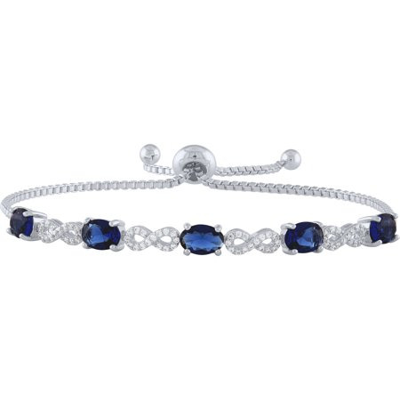 Sterling Silver Plated Simulated Sapphire and CZ Infinity Adjustable Bracelet