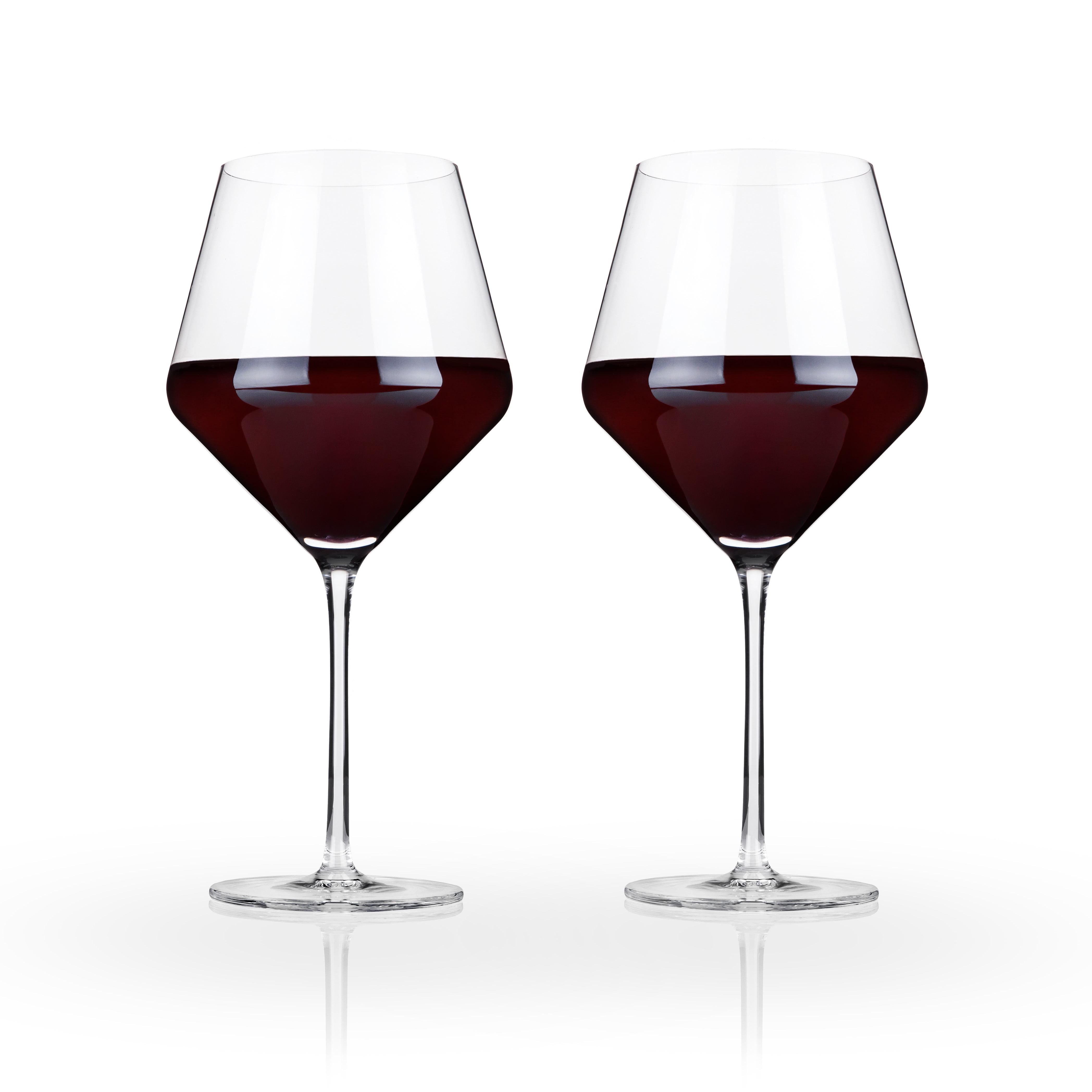 Viski Raye Crystal Burgundy Glasses (Set of 2) by True Brands