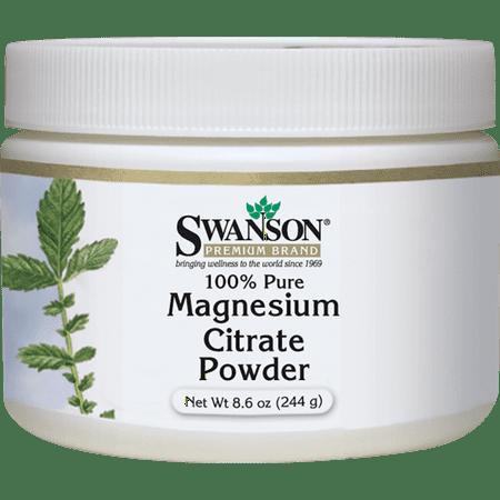 Swanson Magnesium Citrate Powder - 100% Pure 630 mg 8.6 oz