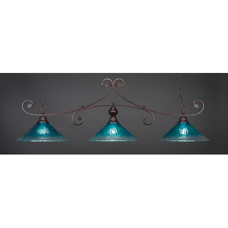 """Toltec 353-BRZ-715 Curl 3 Light Bar Shown In Bronze Finish With 16"""" Teal Crystal Glass"""