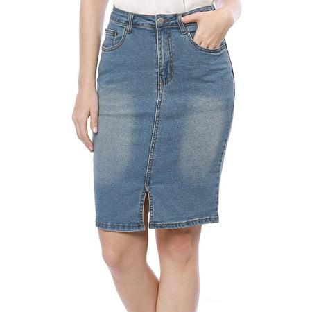 Trim Jean Skirt - Women Slant Pockets Split Trim Washed Denim Pencil Skirt Dress Blue S (US 6)
