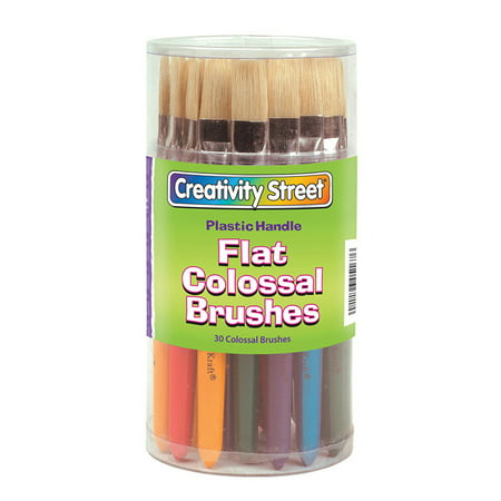 Creativity Street® Plastic Handle Colossal Paint Brush Assorted, Flat, 30/canister