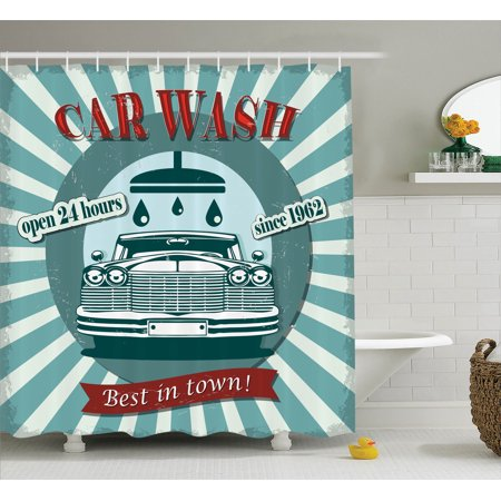 1960S Decor Shower Curtain Set, Vintage Graphic Design For A Car Wash Sign Commercial With Aged Classic Retro Arsty Texture, Bathroom Accessories, 69W X 70L Inches, By Ambesonne