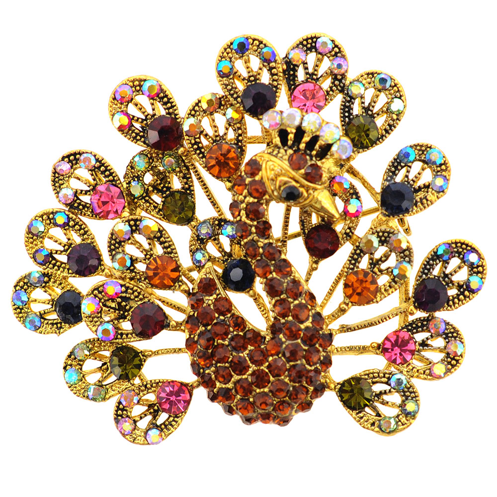 Golden Multicolor Peacock Crystal Brooch Pin by